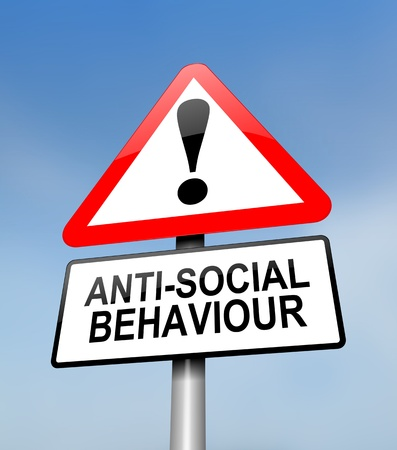 law and order: Illustration depicting a red and white triangular warning sign with a anti social behaviour concept. Blurred sky background. Stock Photo