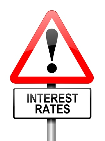 mortgage rates: Illustration depicting a red and white triangular warning sign with an interest rates concept. White background.