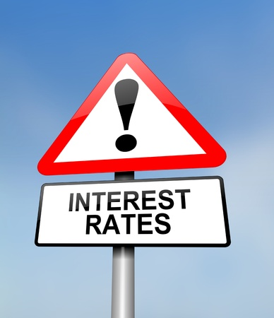 interest rates: Illustration depicting a red and white triangular warning sign with an interest rates concept. Blurred sky background.