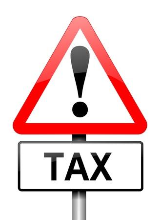 perdidas y ganancias: Ilustración que muestra una señal triangular de advertencia de color rojo y blanco, con un concepto de impuestos. Blanco fondo.