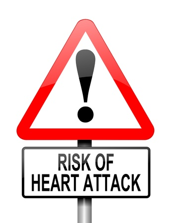 angina: Ilustración que muestra una señal triangular de advertencia de color rojo y blanco con un concepto de ataque al corazón. Blanco fondo.