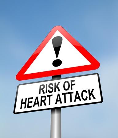 Herzkrankheit: Die Illustration zeigt eine rot-wei�e dreieckige Warnzeichen mit einem Herzinfarkt Konzept. Verschwommene Himmel Hintergrund.