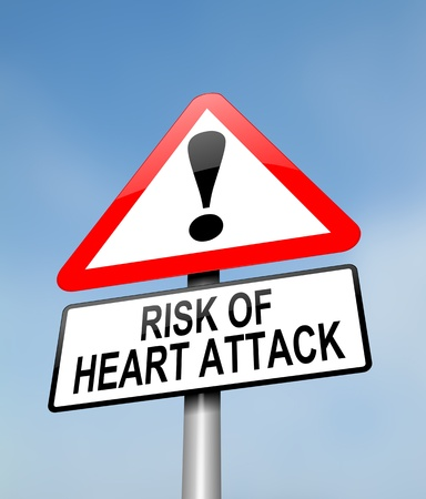 attacks: Illustration depicting a red and white triangular warning sign with a heart attack concept. Blurred sky background.