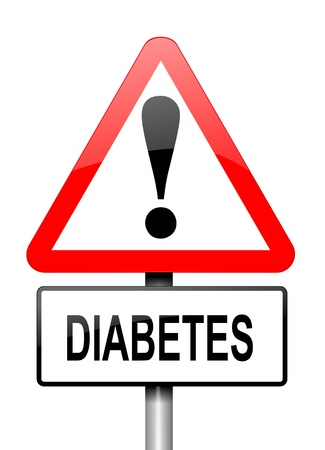 Illustration depicting a red and white triangular warning sign with a diabetes concept. White background. Stock Photo