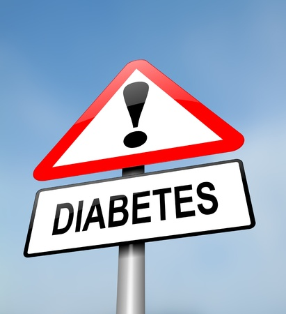 chronic: Illustration depicting a red and white triangular warning sign with a diabetes concept. Blurred sky background. Stock Photo