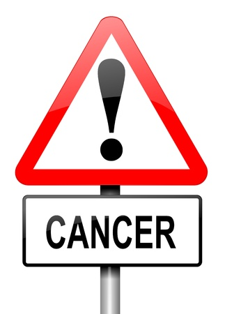 Illustration depicting a red and white triangular warning sign with a cancer warning concept. White background. illustration