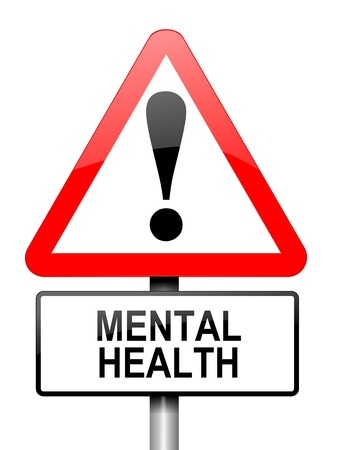 Illustration depicting a red and white triangular warning sign with a mental health concept.White background. illustration