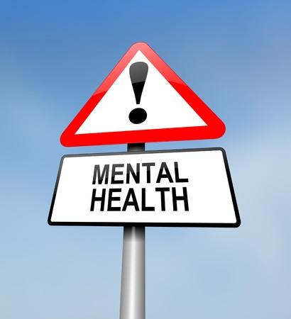 Illustratie geeft een rode en witte driehoekige waarschuwingsbord met een geestelijke gezondheid concept. Wazig hemel achtergrond.