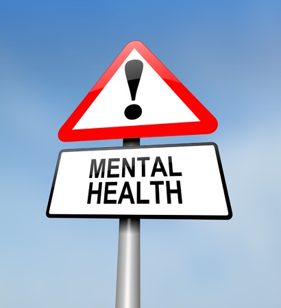 mental work: Illustration depicting a red and white triangular warning sign with a mental health concept. Blurred sky background. Stock Photo