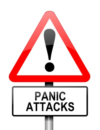panic attack: Illustration depicting a red and white triangular warning sign with a panic attack concept. White background. Stock Photo