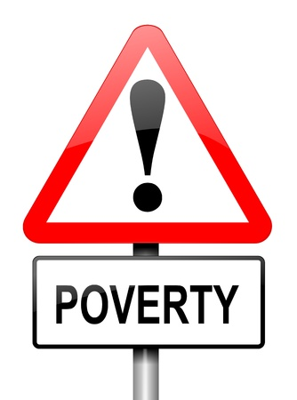 degrading: Illustration depicting a red and white triangular warning sign with a poverty concept.White background.