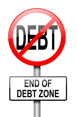 debt management: Illustration depicting a red and white road sign with a debt free concept. White background. Stock Photo