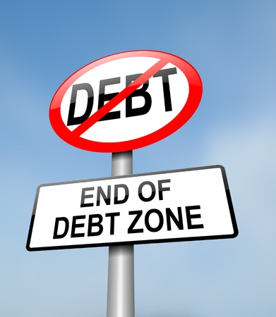 crisis management: Illustration depicting a red and white road sign with a debt free concept. Blurred blue sky background.