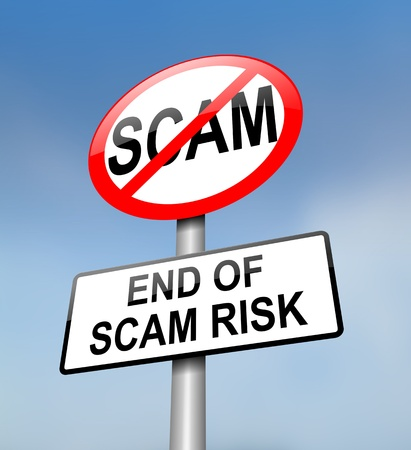 scammer: Illustration depicting a red and white road sign with a scam free concept. Blurred blue sky background.