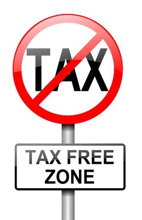 excise: Illustrazione raffigurante un cartello rosso e bianco con un concetto Taxt libero. Sfondo bianco.