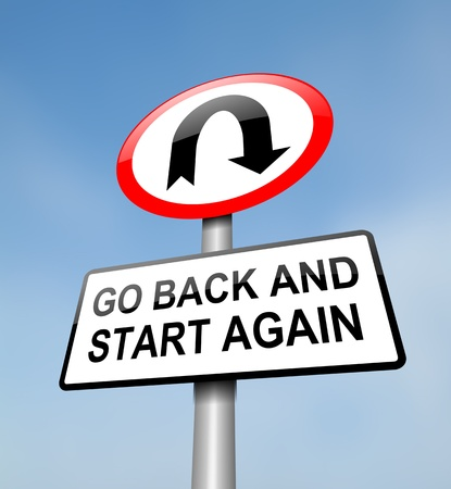 u turn sign: Illustration depicting a red and white road sign with a
