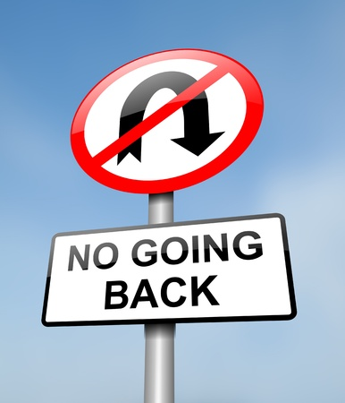 go back: Illustration depicting a red and white road sign with a