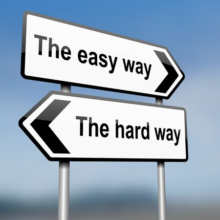easy way: illustration depicting a sign post with directional arrows containing a choices concept