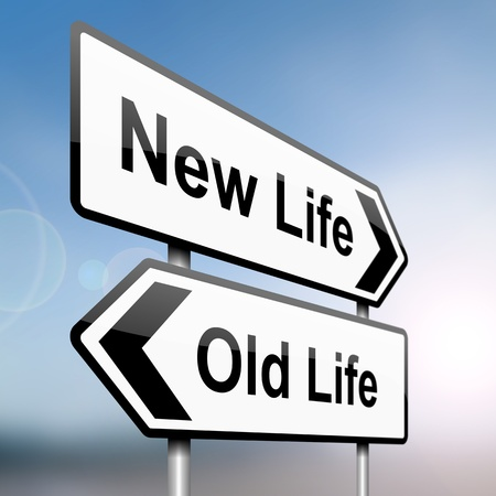 new start: illustration depicting a sign post with directional arrows containing a life choice concept  Blurred background  Stock Photo