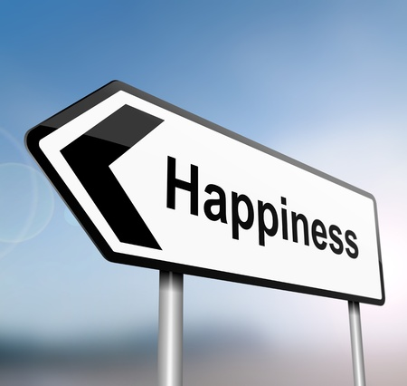 illustration depicting a sign post with directional arrow containing a happiness concept  Blurred background Stock Illustration - 13504856