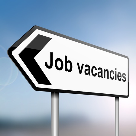 vacancies: illustration depicting a sign post with directional arrow containing a job vacancies concept  Blurred background