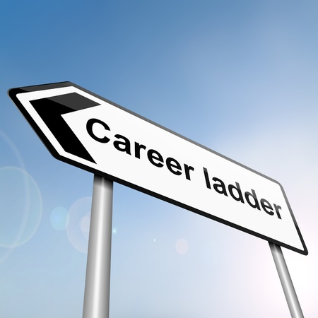 climbing ladder: illustration depicting a sign post with directional arrow containing a career ladder concept  Blurred background  Stock Photo