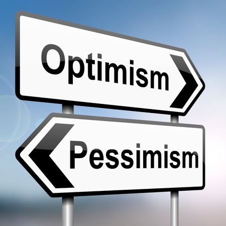 illustration depicting a sign post with directional arrows containing a pessimist or optimist concept  Blurred background  illustration