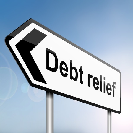 poverty relief: illustration depicting a sign post with directional arrow containing a debt relief concept  Blurred background