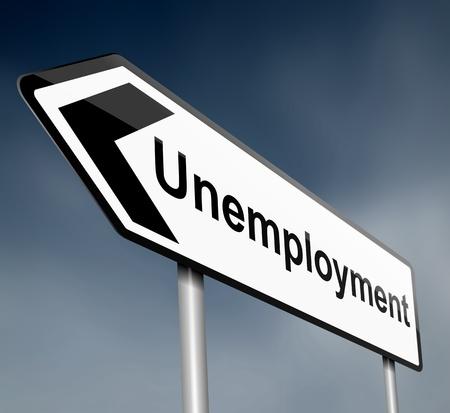 Illustratie geeft een bord geplaatst met een richtingspijl met een werkloosheid begrip Wazig donkere achtergrond Stockfoto