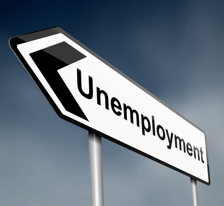 illustration depicting a sign post with directional arrow containing a unemployment concept  Blurred dark background