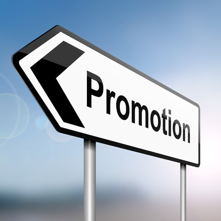 illustration depicting a sign post with directional arrow containing a job promotion concept  Blurred background  illustration