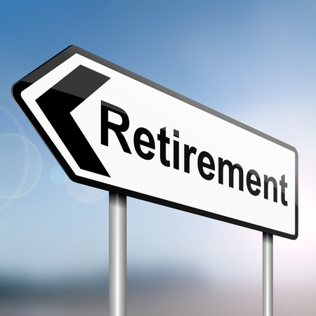 illustration depicting a sign post with directional arrow containing a retirement concept  Blurred background Stock Illustration - 13504869