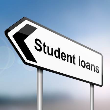 illustration depicting a sign post with directional arrow containing a student loans concept  Blurred background  illustration