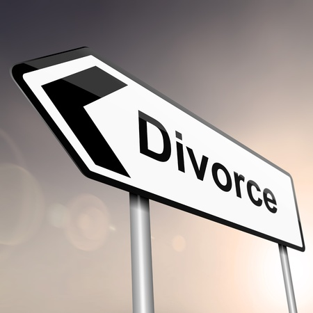 illustration depicting a sign post with directional arrow containing a divorce concept  Blurred background  illustration