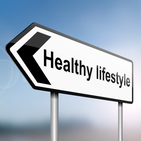 illustration depicting a sign post with directional arrow containing a healthy lifestyle concept  Blurred background  Stock Photo