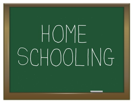 lessons: Illustration depicting a green chalk board with a homeschooling concept