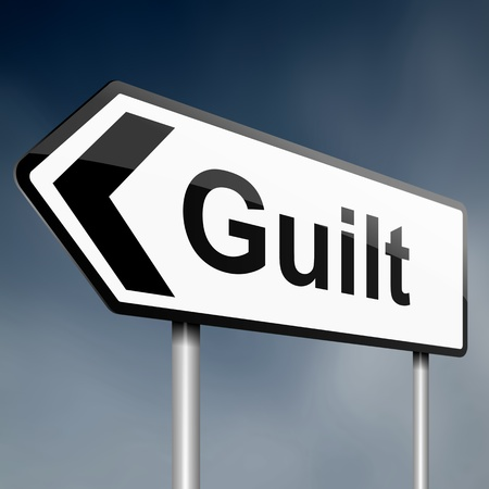 confessing: illustration depicting a sign post with directional arrow containing a guilt concept  Blurred background  Stock Photo