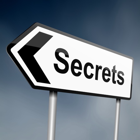 misleading: illustration depicting a sign post with directional arrow containing asecrets concept  Blurred background