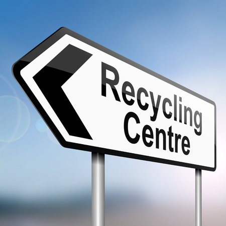 illustration depicting a sign post with directional arrow containing a recycle concept. Blurred background. illustration