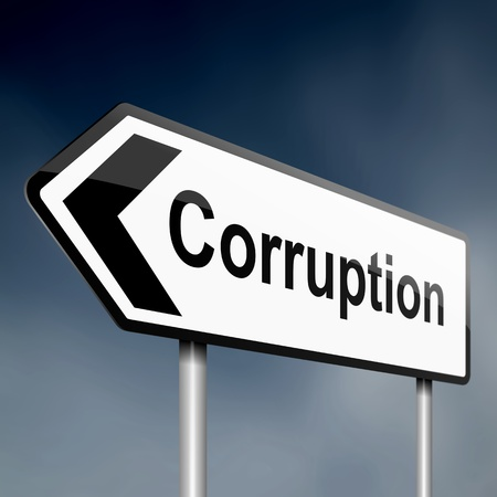 illustration depicting a sign post with directional arrow containing a corruption concept. Blurred background. illustration