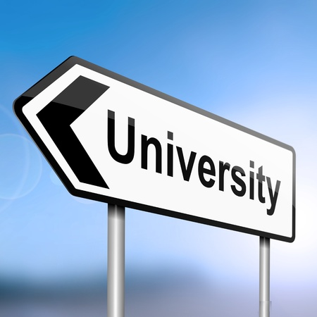 containing: illustration depicting a sign post with directional arrow containing a university concept. Blurred blue sky background.