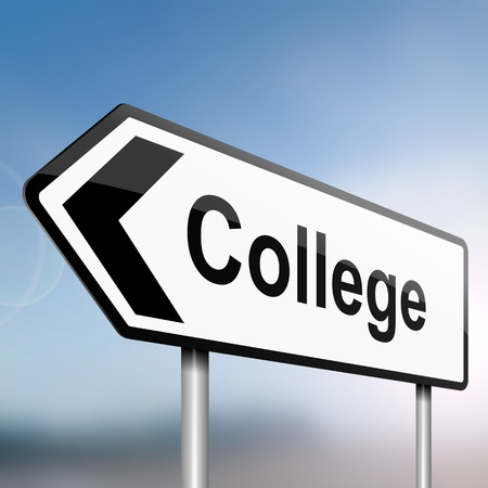 illustration depicting a sign post with directional arrow containing a college concept. Blurred background. illustration
