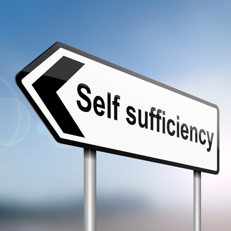 sufficiency: illustration depicting a sign post with directional arrow containing aself sufficiency concept. Blurred blue sky background. Stock Photo