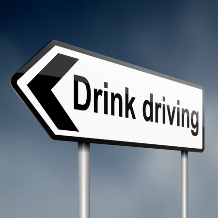 drunk driving: illustration depicting a sign post with directional arrow containing a drink driving concept  Blurred background