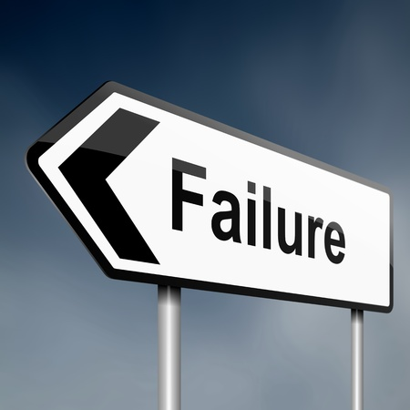 looser: illustration depicting a sign post with directional arrow containing a failure concept  Blurred background
