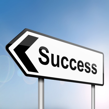 accomplish: illustration depicting a sign post with directional arrow containing a success concept  Blurred background
