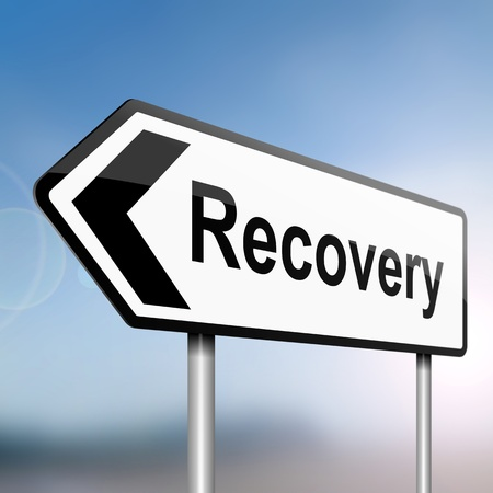 economic recovery: illustration depicting a sign post with directional arrow containing a recovery concept  Blurred background  Stock Photo