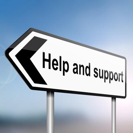 apoyo social: ilustraci�n que representa un cartel con la flecha direccional que contiene un concepto de ayuda y apoyo borrosa de fondo