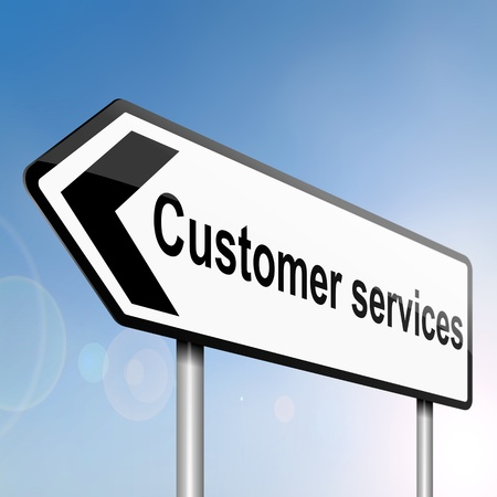 business concern: illustration depicting a sign post with directional arrow containing a customer services concept  Blurred background