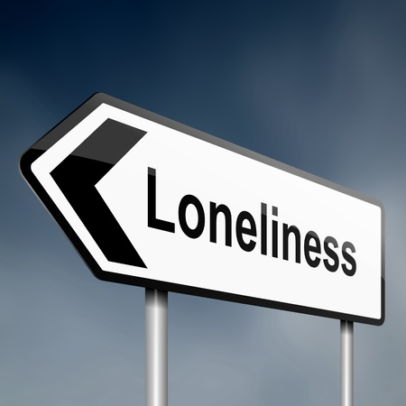 illustration depicting a sign post with directional arrow containing a loneliness concept  Blurred background  illustration